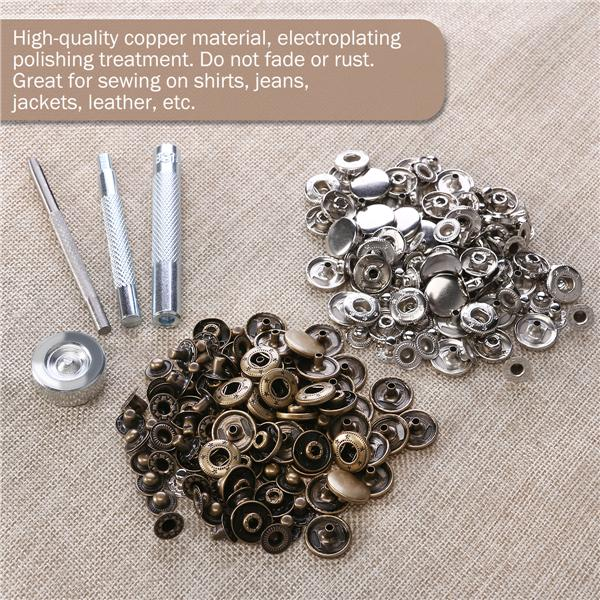 OUNONA 50 Sets Metal Snap Button Snap Fasteners Clothing Snaps Tool Kit with Storage Box 15mm