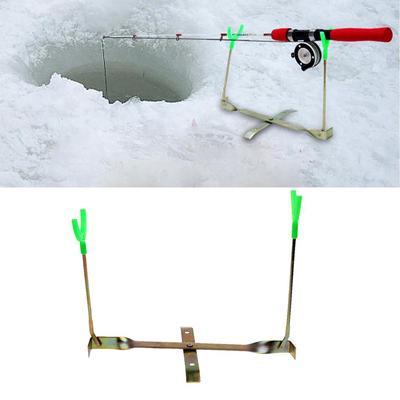 Ice Fishing Rod Holder 2 Rest Y Shape Folding Pole Dual Rotation Adjustable Rack