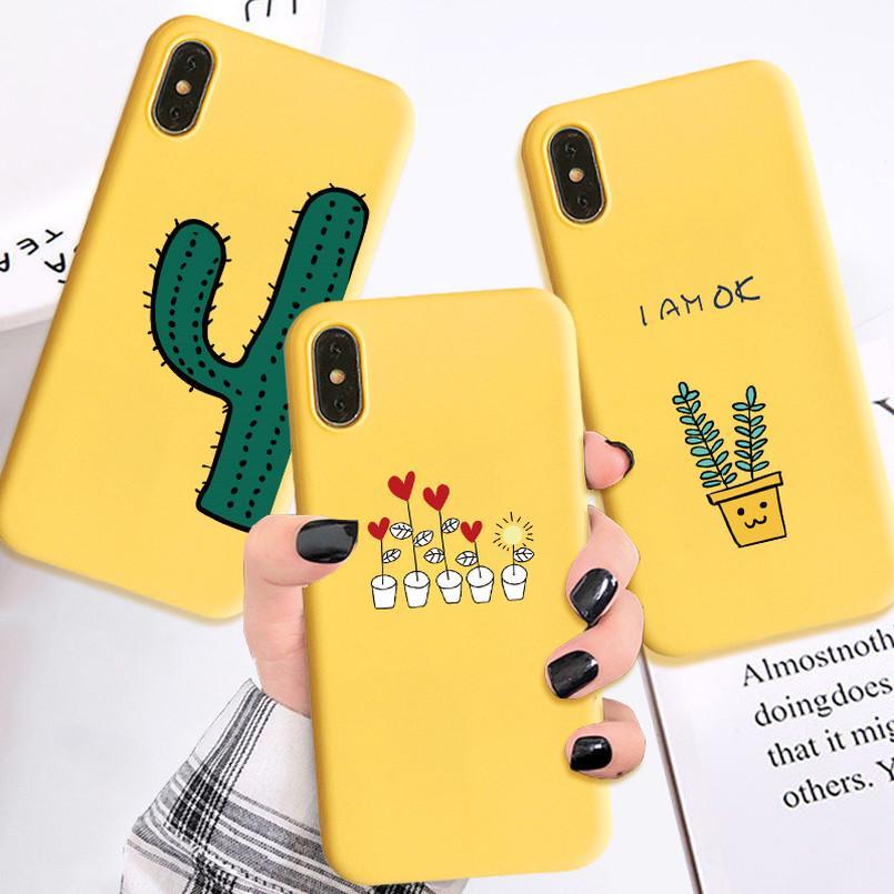 Симпатичные Кактус Цветок желтый чехол для Samsung A50 A70 IPhone Плюс Huawei Честь Xiaomi Случаи Обложка фото