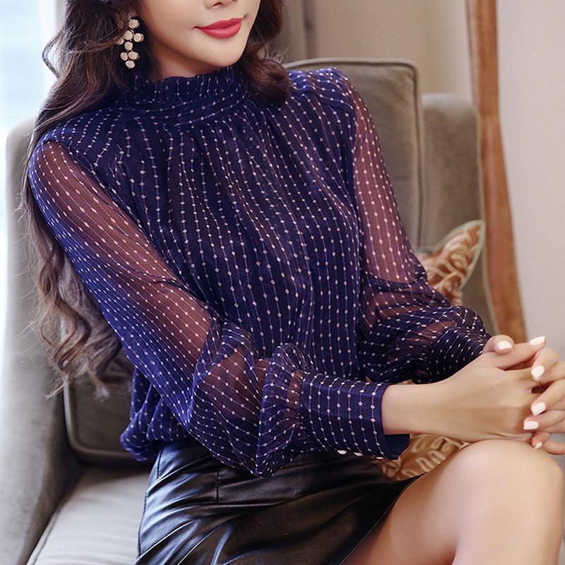 Женская модная блузка длинным рукавом, S-XXL фото