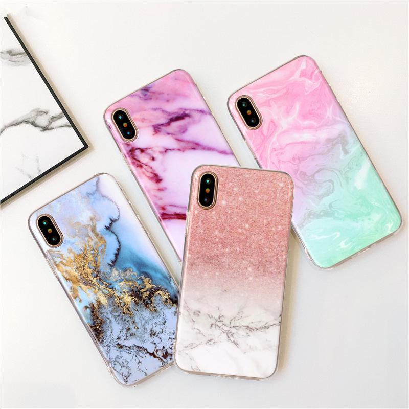 Мода Мраморный узор Мягкий TPU Телефон ЧекойОн Обложка для iPhone X Samsung Галактика A21S A51 A71 Huawei Честь 30S Xiaomi Mi 10 Pro Redmi Примечание 9