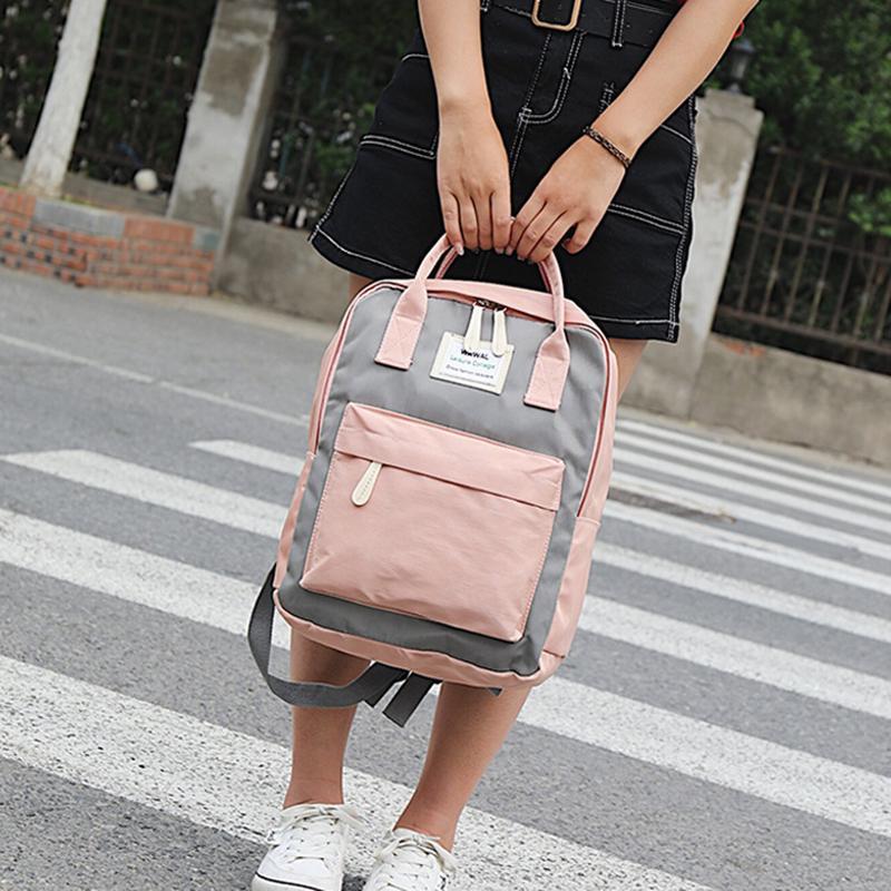 Случайный холст рюкзак для женщин плеча мешки студенческие путешествия рюкзак контрастного цвета фото