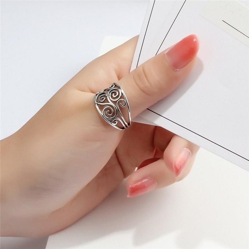 Мода Винтаж Кольцо Древний Серебряный сплав Openwork Цветок Кольцо Cool Trend ювелирные кольца фото