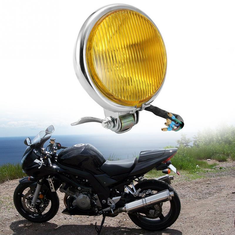 Motorcycle Retro Metal Front Halogen Headlight for Harley Cafe Racer Honda Yamaha Suzuki Kawasaki CG125 GN125 Clear Lens