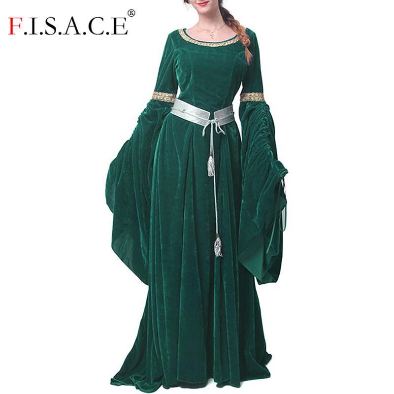 Halloween Medieval Long Dress Victorian Velvet Lace Trim Cosplay Renaissance