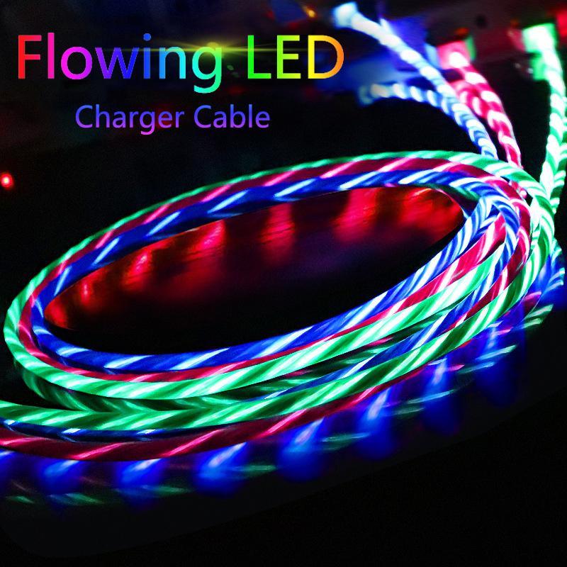 LED течет телефона зарядки кабели свечение молния тип C микро USB зарядное устройство шнур для iPhone Android