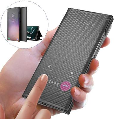 New Smart Carbon Fiber Flip Phone Case for Xiaomi Redmi Note 10 Pro 9 Pro Poco M3 Pro X3 Pro Samsung A51 A71 A32 A52 A21S Protection Cover