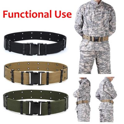 Men/'s BLACK Outdoor Sports Military Tactical Nylon Waistband Canvas Web Belt ONE