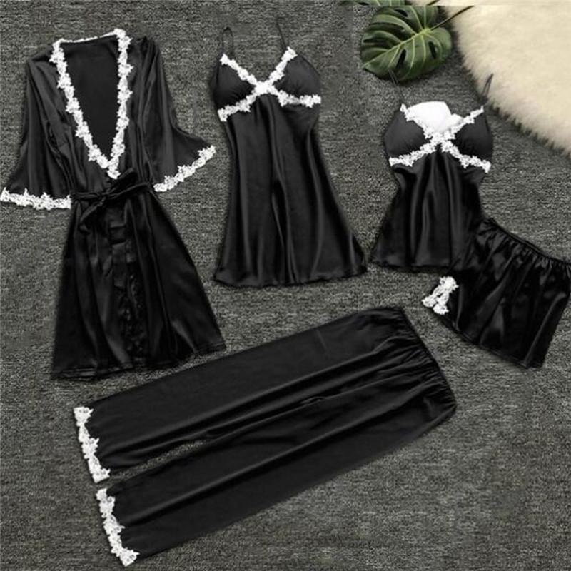 5 ПК женская мода пижама устанавливает Шелковое кружево белье Bathrobes Костюмы домашняя одежда фото