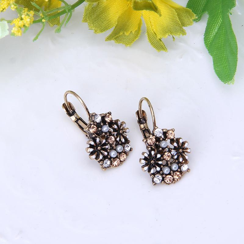 Vintage Boho Crystal Pressed Flower Circle Dangle Drop Statement Earring Women