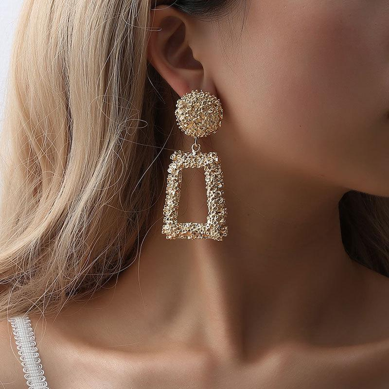 Vintage Gold Color Metal Ball Hoop Earrings Style  Hollow Out Statement Earrings