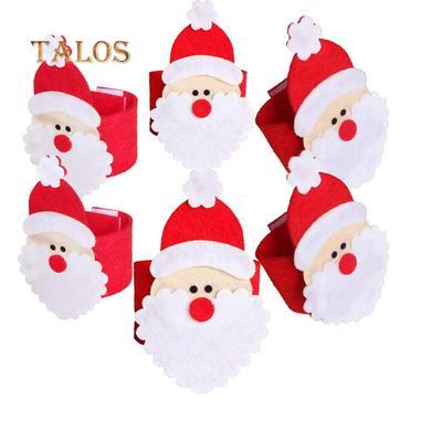 1//10X Christmas Santa Claus Napkin Ring Serviette Tissue Holder Table Decor  S