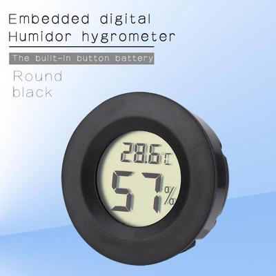 Digital Cigar Humidor Temperature Hygrometer Thermometer Blue LCD Round Face