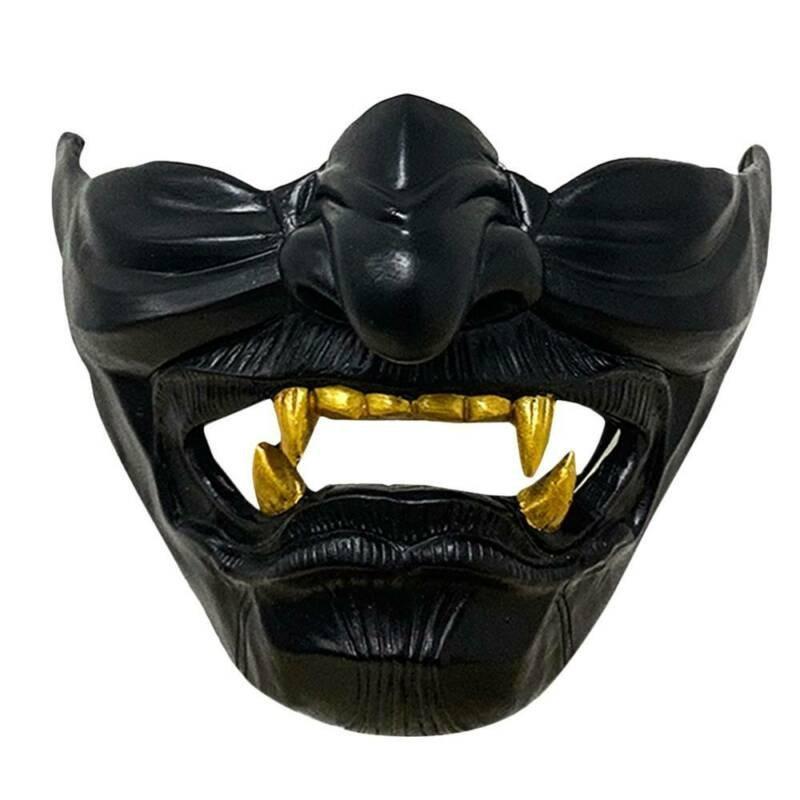 Samurai Ghost Devil Half Face Masquerade Halloween Cosplay Props