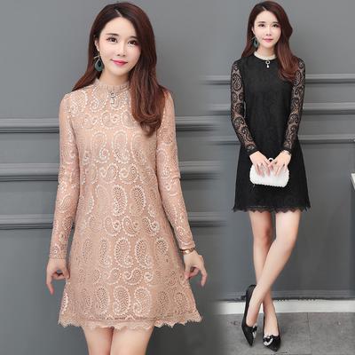 Lace Dress Womens Long Sleeve Spring Dress Korean Loose