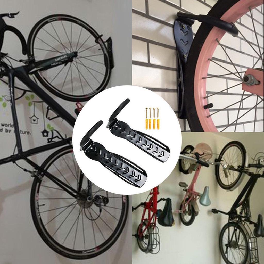 Wall Mount Folding Bicycle//Bike Rack Holder Black w//Hanging Pouch Net f// Storage