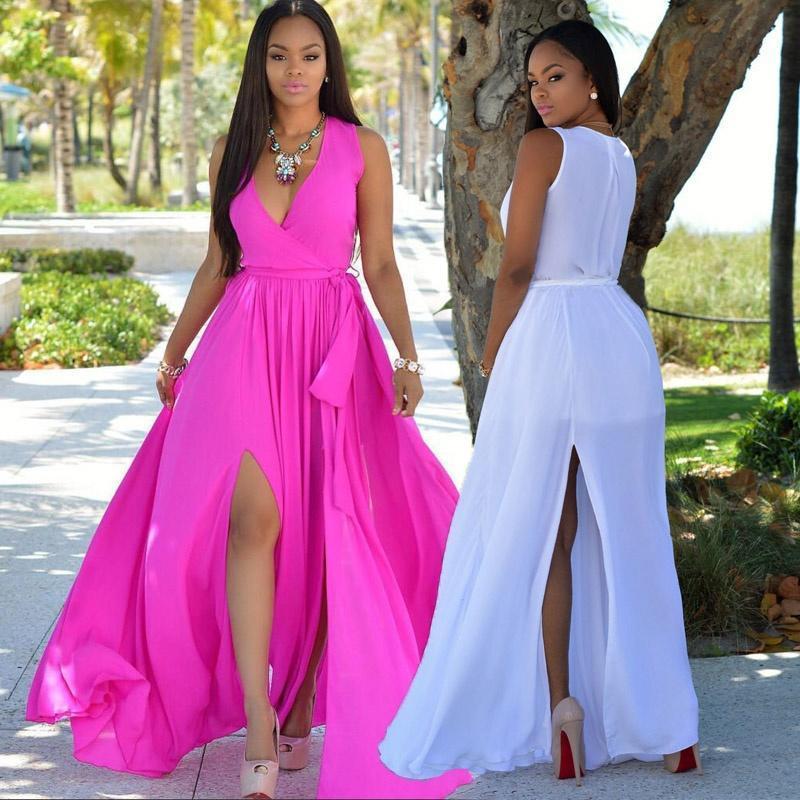 Maxi vestido de verano Sexy mujeres gasa vestido fuera de hombro ...