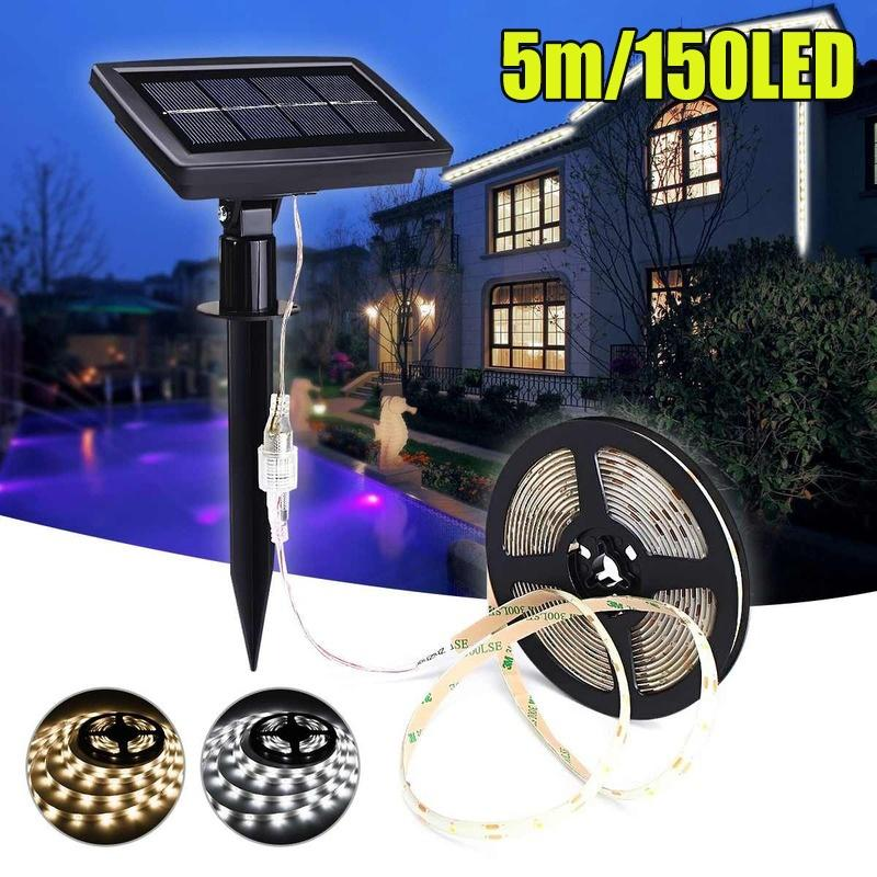 3-5m 150LED Waterproof Solar Powered Light Strip Garden Outdoor Party Xmas Decor