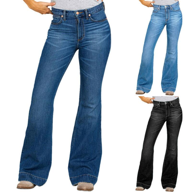 Plus Size Women High Waist Stretch Denim Trousers Bootcut Jeans Flared Pants New