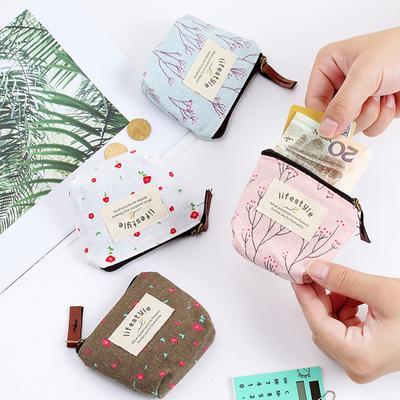 Women Girl Small Canvas Purse Zip Wallet Coin Case Bag Handbag Key Holder Wallet