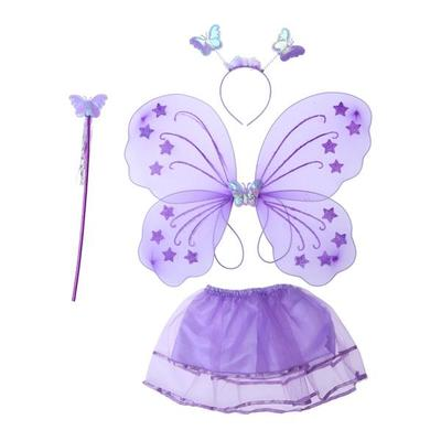71f2510ae 4pcs Girl's Butterfly Costume Set Tutu Skirt with Butterfly Wings Headband  and Fairy Magic Wand Kid
