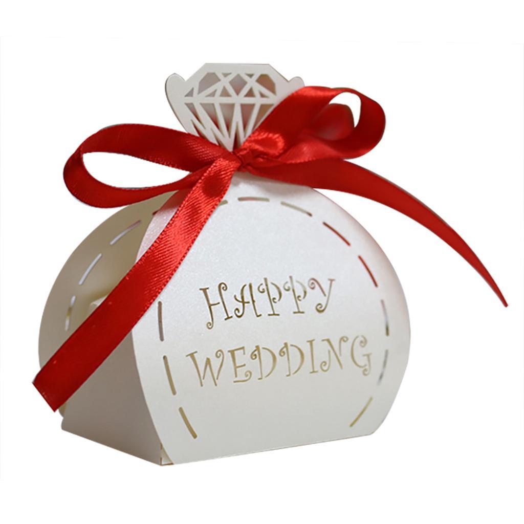 30PCS Wedding Favor Candy Box Decorative Ribbon Bow Wedding Treat ...