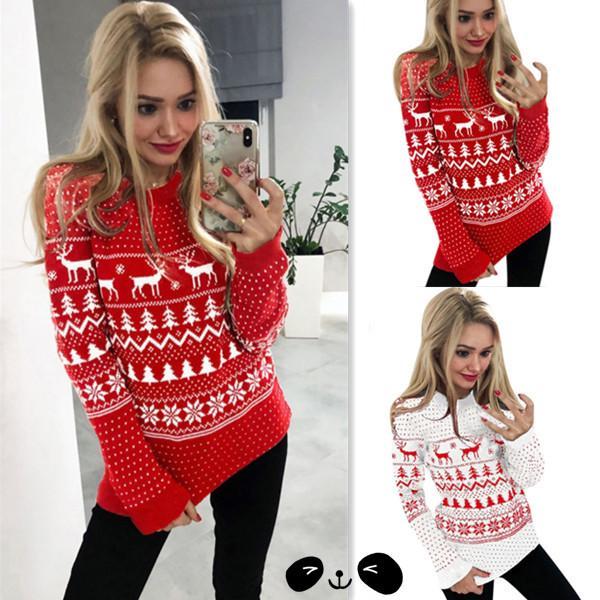 Christmas Sleeve Long Sleeve Round Knit Sweatshirt Hoodies Xmas Blouses Tops