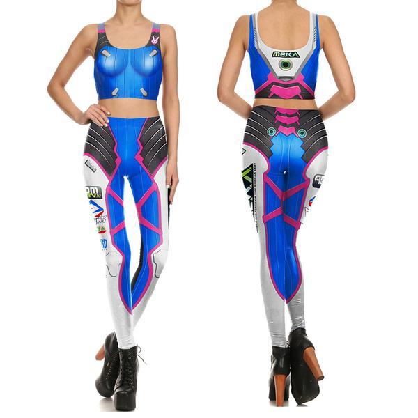 1084e156ca7fa Womens Game Ow Dva Cosplay Costume 3d Print Slim Games Tops And ...