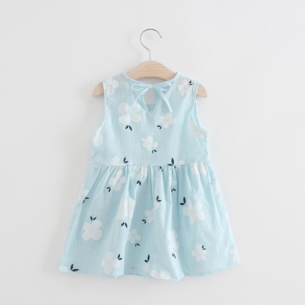 Summer Kids Girls Sleeveless Cotton Floral Print Princess Doll Collar Dress