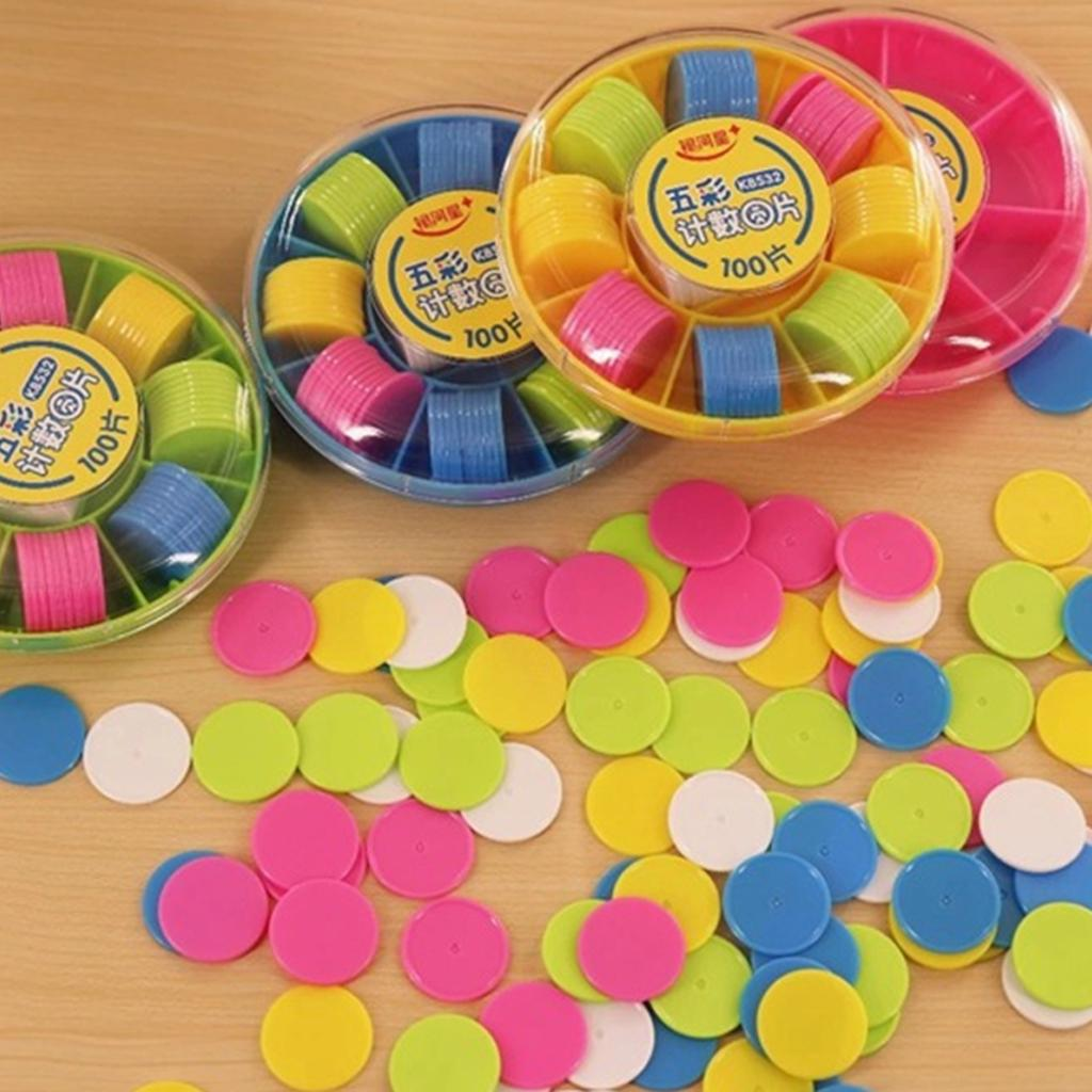 100Pcs Colorful Plastic Chips Counters Kids Mathematics Learning Toy w// Box