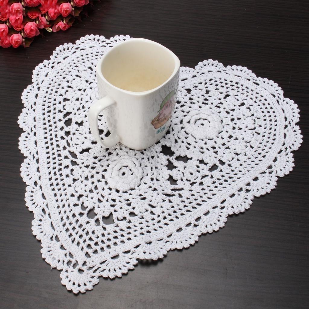 Puro algodón hilado a mano Crochet tapete mantel redondo corazón ...