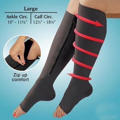acc7f2c28 Zipper Unisex respirável compressão meias até ao joelho perna apoio ...
