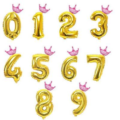 1* 32 inch Crown Number Foil Balloon Digit Ballon Birthday Party Colorful Decors