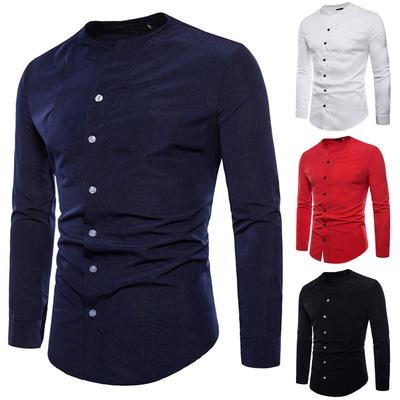 Be Loved Beloved Mens Long Sleeve Stand Collar Slim Fit Solid Color Button Down Business Casual Shirt