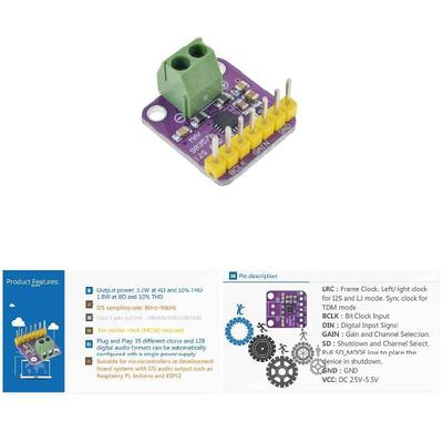 Board MAX98357 Raspberry D Module Amp Amplifier ESP32 I2S