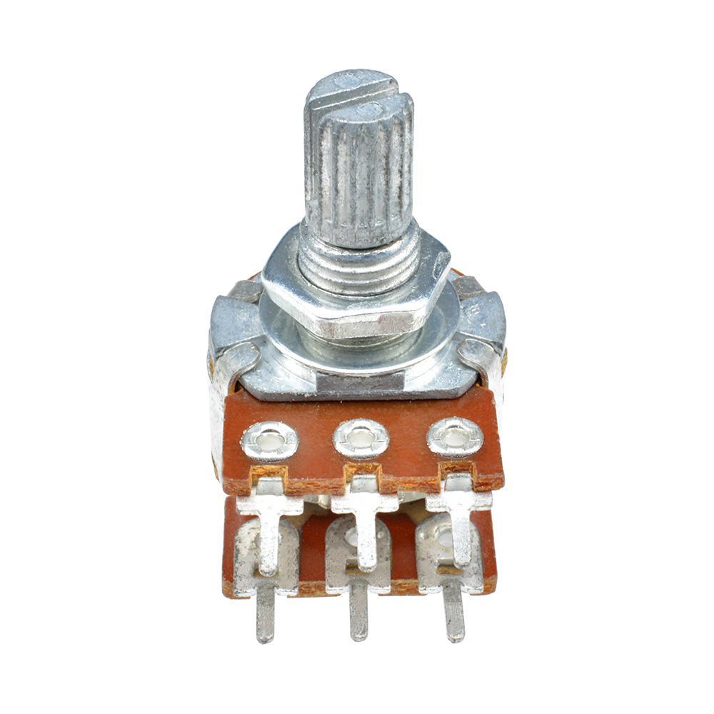 10Pcs B10K Ohm Dual Linear Taper  Rotary Potentiometer Pot 20mm Shaft 6 Pins UKS