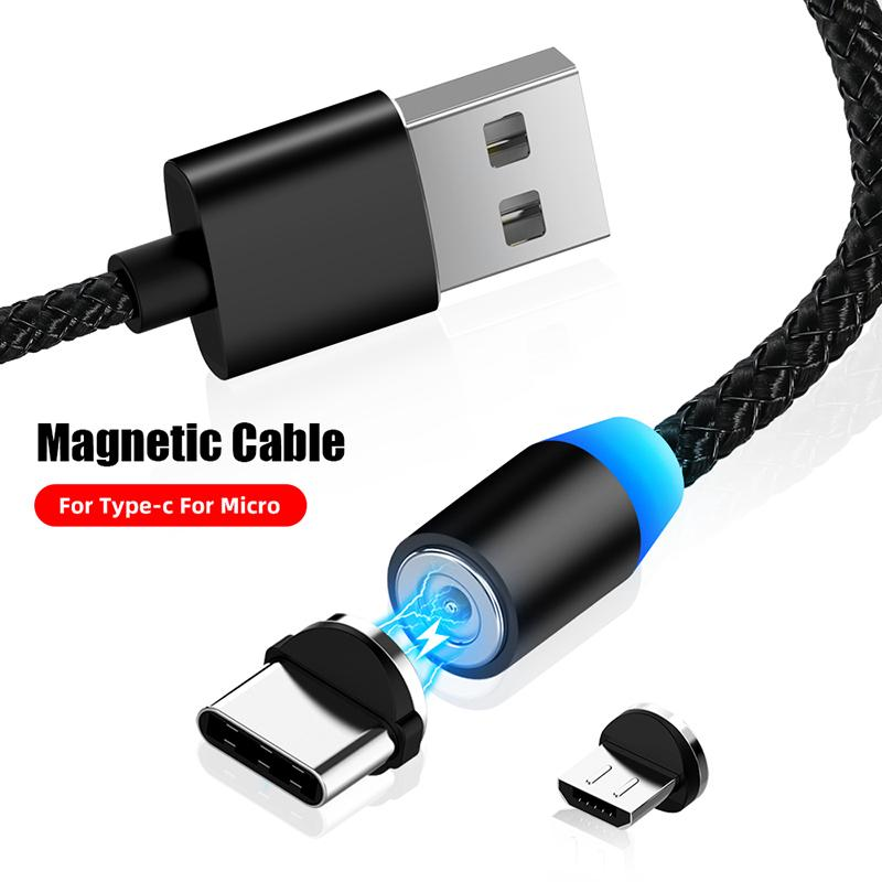 Magnetic USB Cable Micro Usb Type C Fast Charging Magnet Charger Cable LED Type C Mobile Phone Cable