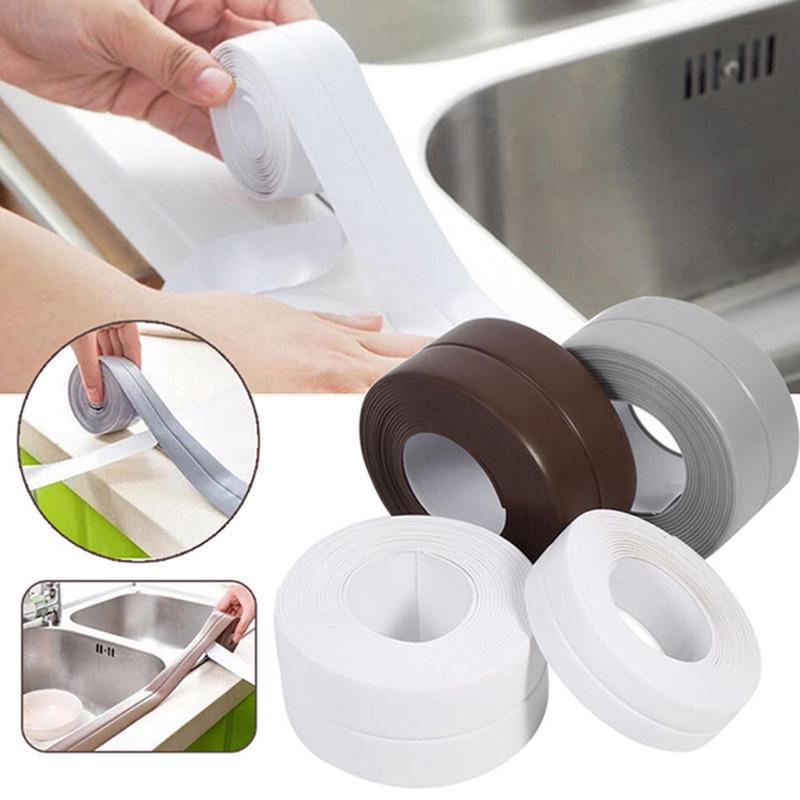 Sink Waterproof Tape Shower Bath Sealing Strip Self Adhesive White Tapes Kitchen