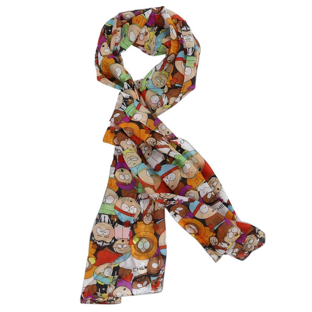 Patrón de dibujos animados Chic de color adornado bufanda de la gasa ...