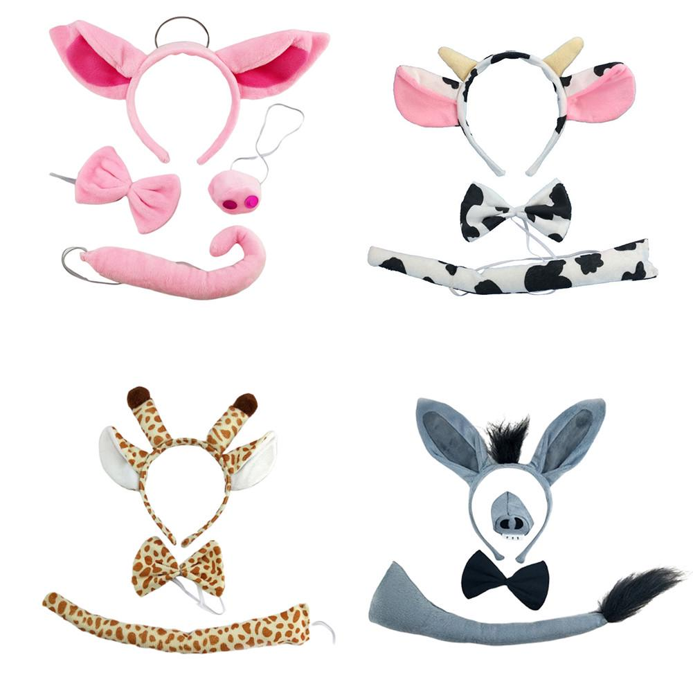 3 Pcs Cute Cartoon Dairy Cattle Headband Bow Tie and Tail for Costume Baby Kids