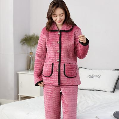 c02abcdaf8 Winter Thicken Quilted Pajamas Soft Coral Fleece Sleeping Home Furnishing  Suit 3 Layers Flannel