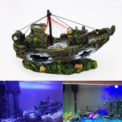24 12cm Large Aquarium Decoration Plactic Aquarium Ship Boat Air