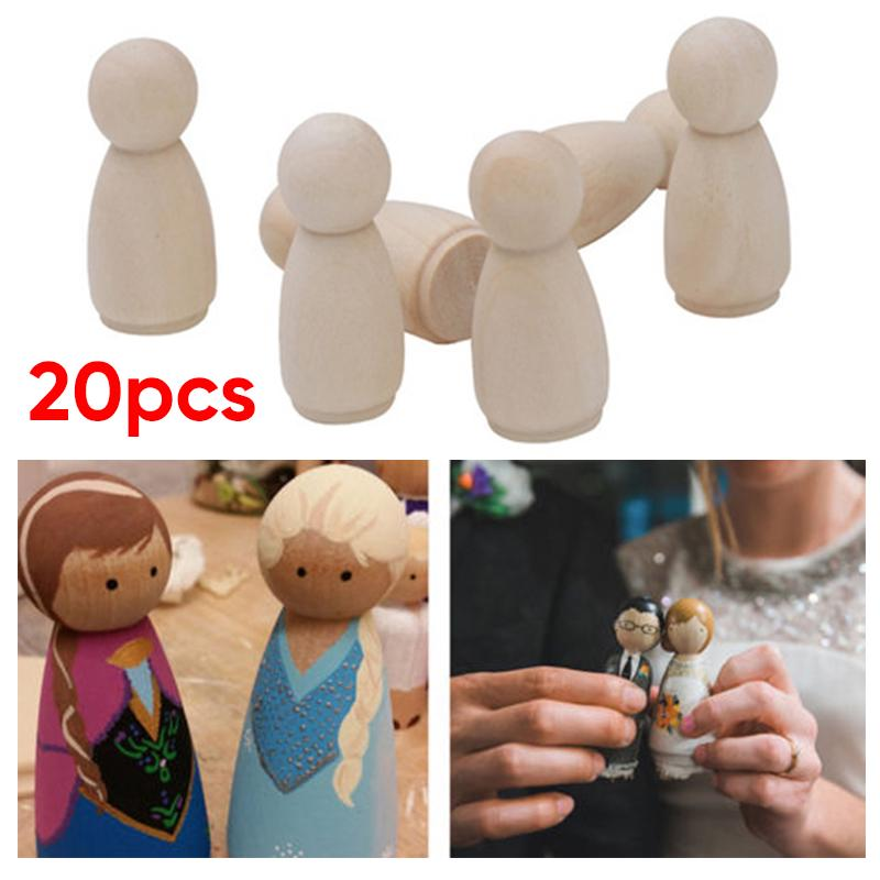 20Pcs Natural Unfinished Wooden Peg Doll Bodies People Shapes Painting Art Craft