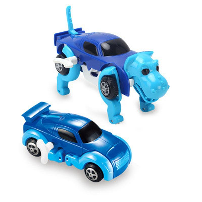 14CM cool Automatic transform Dog Car Vehicle Clockwork Wind up toy for children