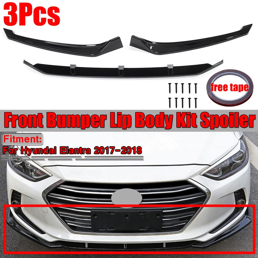 Car Front Bumper Cover Lip Spoiler Gloss Black For Hyundai Elantra 2017 2018 3pcs Set Buy At A Low Prices On Joom E Commerce Platform