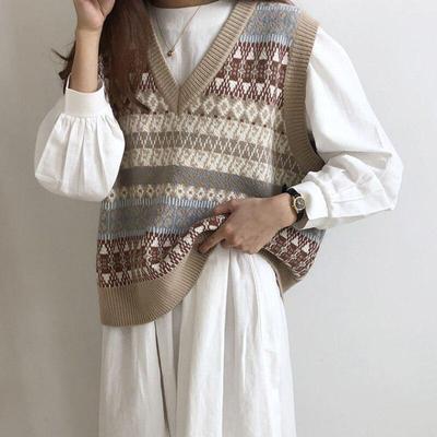 Women Sweater Vest Autumn Vintage Geometric Argyle V Neck