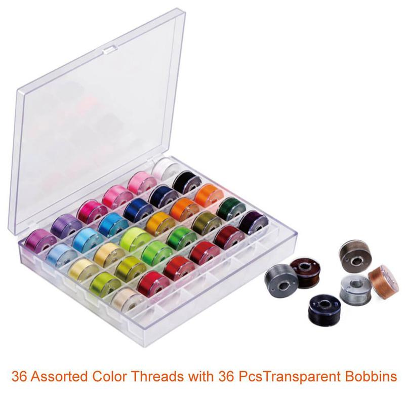 36Pcs Sewing Machine Bobbins Thread Spools Case With Threads for Singer Brother