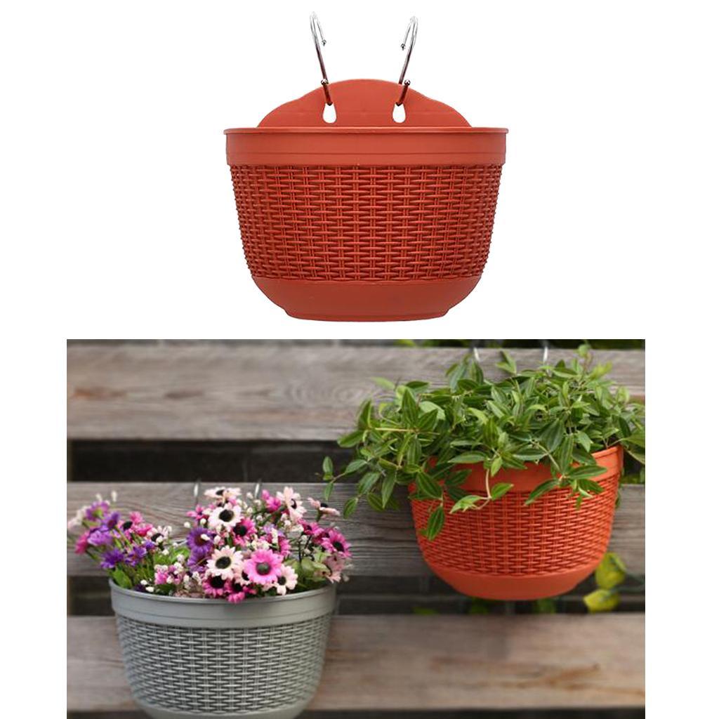 Imitation Rattan Wall Hanging Flower Plant Pot Fence Balcony Planter Basket Pot