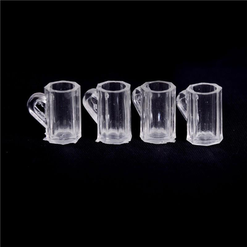 1//12 Dollhouse Miniature Clear Wine Glass Drink Cups set Kitchen Accessory 4pcs