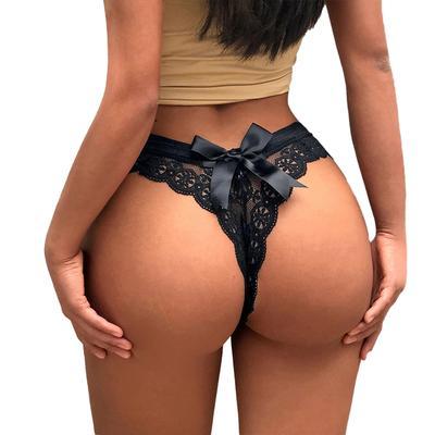 Oeak Women Lady Sexy Hollow Bow Panties Lace Crotch Transparent G String Plus Size Thong
